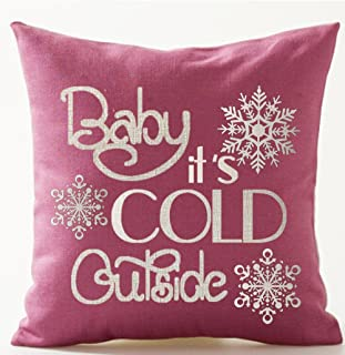 Season's Blessing Warm Sayings Baby It's Cold Outside Snowflake Pink Background Cotton Linen Throw Pillow Case Cushion Cov...