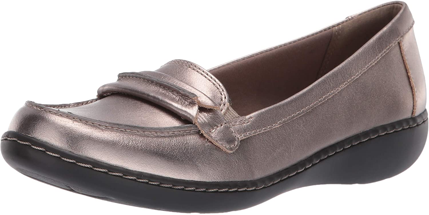 Clarks Ashland Lily Damen Schlupfschuhe, Grau (Pewter Leather), 37.5 EU W