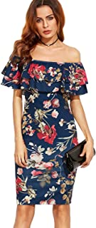 Best blue floral off the shoulder dress Reviews