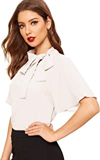 SheIn Women`s Casual Side Bow Tie Neck Short Sleeve Blouse Shirt Top