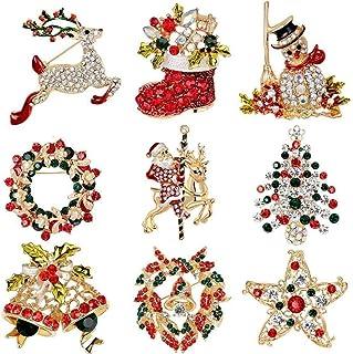 BMKJ 9 broches de cristal de Navidad con adornos de Navidad, para regalo, elegantes, para mujeres y niñas, broche de Navid...