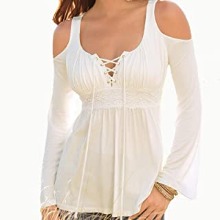 zxb-shop Womens Long Sleeve Pleated Tshirts Lace Up V Neck Cold Shoulder Tunic Tops Blouse Shirts Tunic Tops Tee (Color : ...