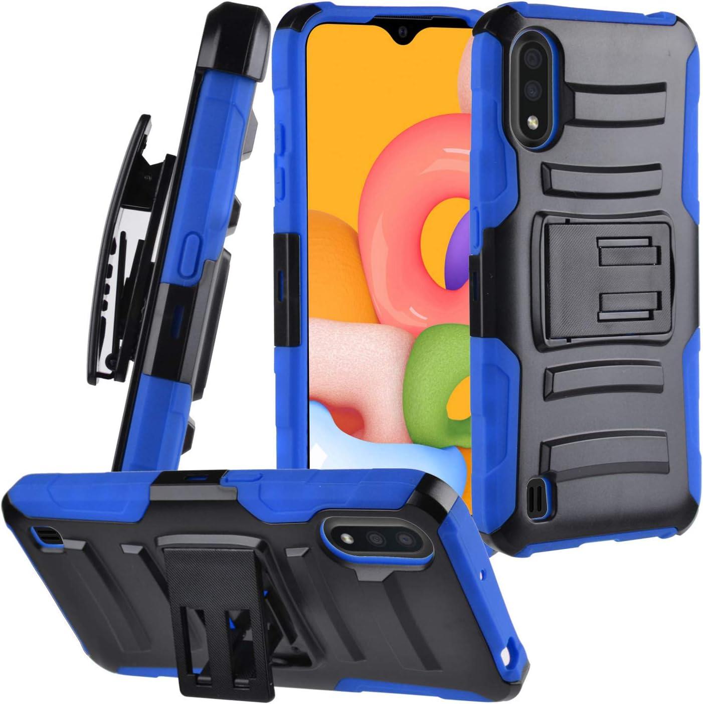 CELZEN - for Samsung Galaxy A01 SM-A015 - Hybrid Phone Case w/Stand/Belt Clip Holster - CV1 Blue
