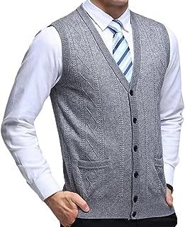 Zhhlinyuan Mens Men's Father Sleeveless V-Neck Wool Knitted Vest Waistcoat Gilet