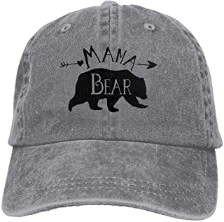 Mama Bear Denim Baseball Caps Hat Adjustable Cotton Sport Strap Cap for Men Women
