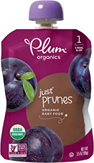 Plum Organics Stage 1, Organic Baby Food, Just Prunes, 3.5 ounce pouches (Pack of 12) (Packaging May Vary)