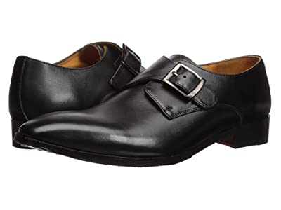 CARLOS by Carlos Santana Freedom Monk Single Strap (Black Full Grain Calfskin) Men