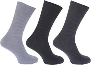 3pk Mens GoldStyle™ 100% Cotton SOFT TOP Elastic. Extra Comfort. Ribbed Suit Socks Sizes 6-11 11-13 Bigfoot (6-11, Mixed D...