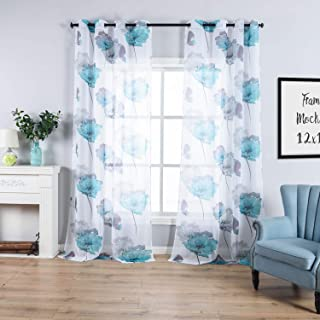 Contemporary Watercolor Petal Print Curtains 63 Inch Length 2 Pieces Green Flower Curtains for Patio Glass Door,Ornamental Grommet Floral Sheer Curtains,2 Panel Set,54W ×63L Inches,Blue-Green