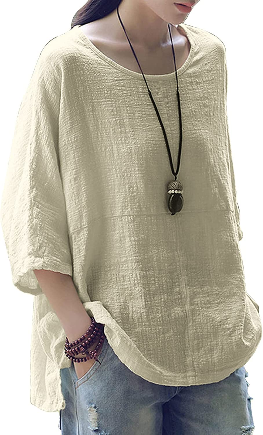 Women Cotton Linen Tops Plus Size 3/4 Vintage Tees Loose Solid Color Shirt Boatneck Tunic Blouses Summer T-Shits