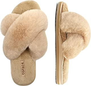 COFACE Womens Faux Fur Slides Fuzzy Cross Slippers Ladies Open Toe Fluffy House Sandals with Soft Memory Foam Indoor
