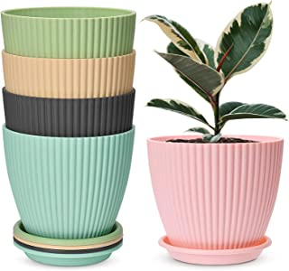 7.5 inch Plastic Planters with Saucers, Set of 5 Indoor Flower Plant Pots Modern Decorative Garden Pot with Drainage Hole ...