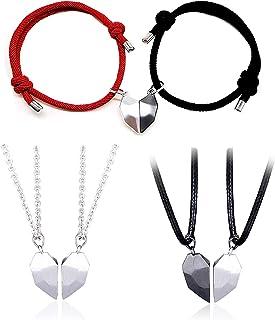Collar de dos almas y un corazón, colgante con cadena, collares, pulseras de cuerda, 6 piezas, peso ligero, imán creativo,...