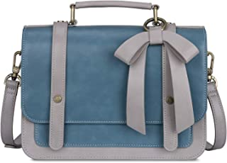 Women's Small Vintage Vegan Leather Crossbody Satchel Bag with Detachable Bow