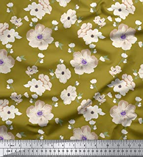 SALE New style printed silk with green leaf and cream white flower by the yard for party-HJH silk dress fabric 20 mm silk fabric