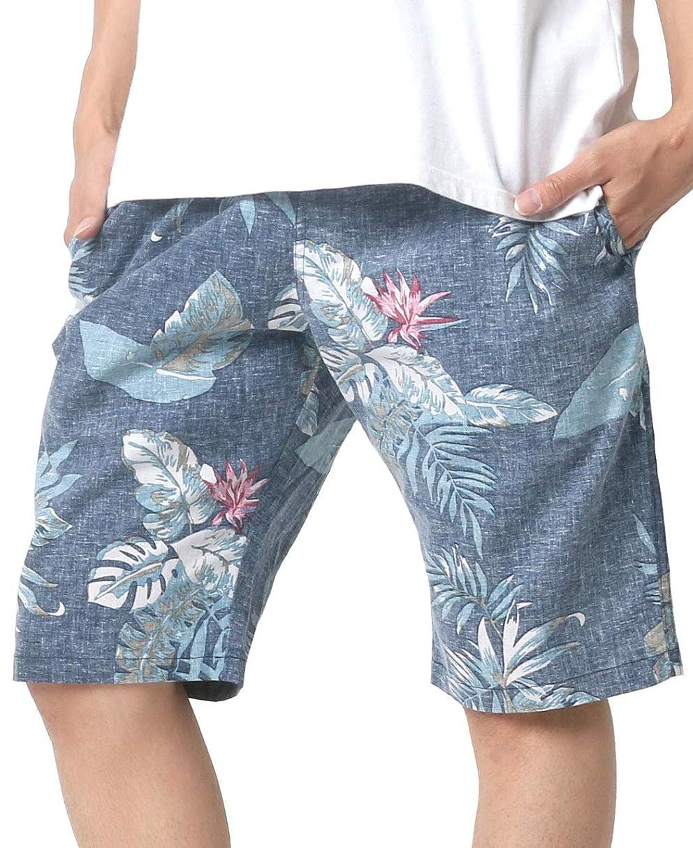 着る頼むバランスのとれた[ルーシャット] ショートパンツ アロハ 総柄 裏使い ボタニカル 花柄 イージーパンツ メンズ