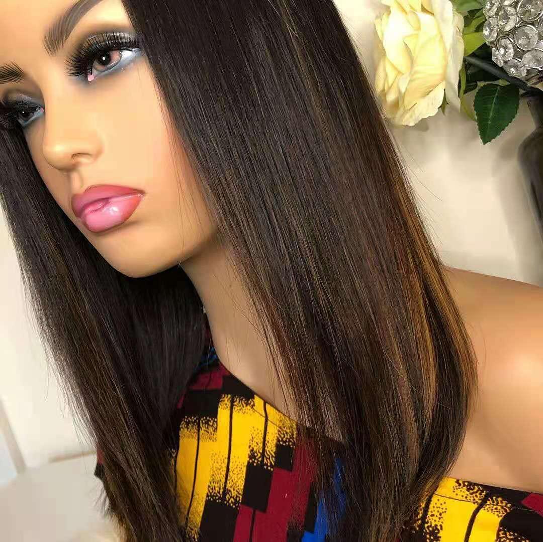 Highlight Blonde HD Lace Front 品質検査済 Wig Straight Human Hair Bob Silk 当店は最高な サービスを提供します