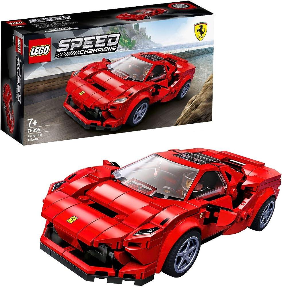 LEGO Speed Champions Ferrari F8 Tributo, Giocattolo Ispirato alle Corse, con Minifigura del Pilota 76895