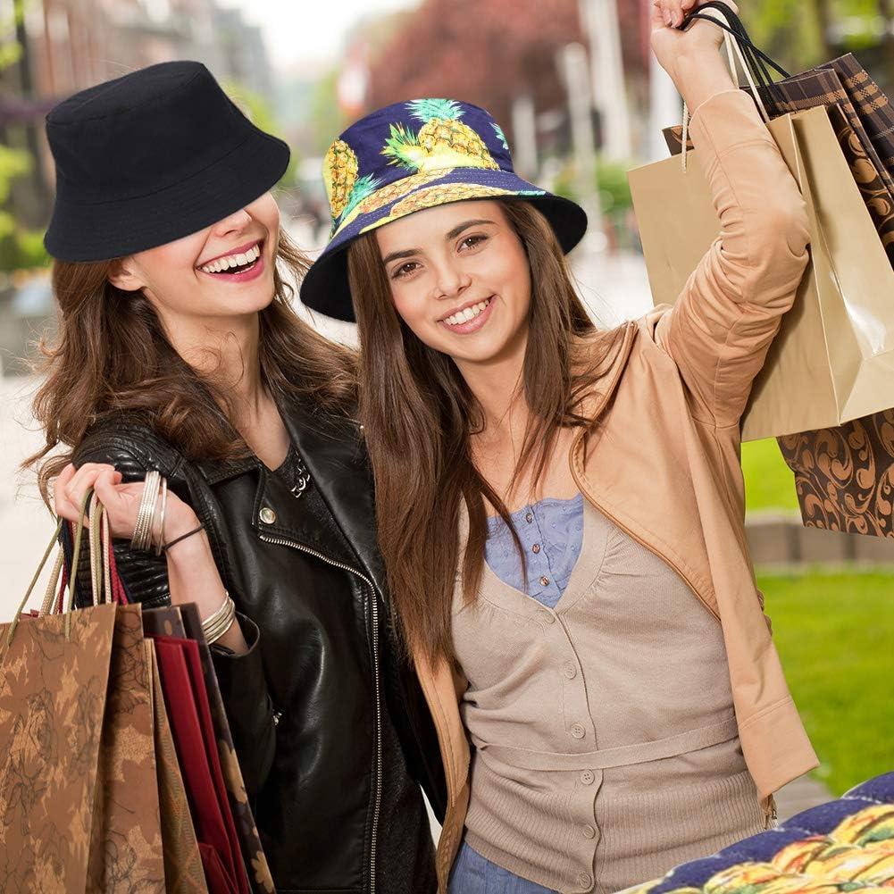 GOTH Perhk Bucket Hat Fruits Print Anti-UV Reversible Portable Sweat Absorption Cotton Unisex Outdoor Sun Hat for Women Men Teens