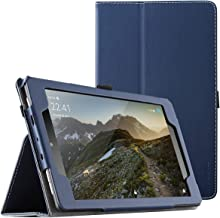 Poetic SlimFolio case for All-New Amazon Fire HD 8 Tablet (7th and 8th Generation, 2017 and 2018 Release) - Slim Leather Stand Folio Smart Cover Case with Auto Wake/Sleep - Navy Blue