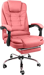 Halter Reclining Leather Office Chair - Modern Executive Adjustable Rolling Swivel Chair Headrest with Retractable Footrest (Pink)