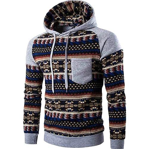 7bfbada98db Men s Long Sleeves Fashion AZTEC Tribal Floral Hoodie Sweatshirt Pullover