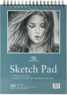 Bloc de dessin 100 feuilles A4 à reliure spirale 22,9 x 30,5 cm - Papier blanc et lisse à grain fin pour le dessin, croqui...