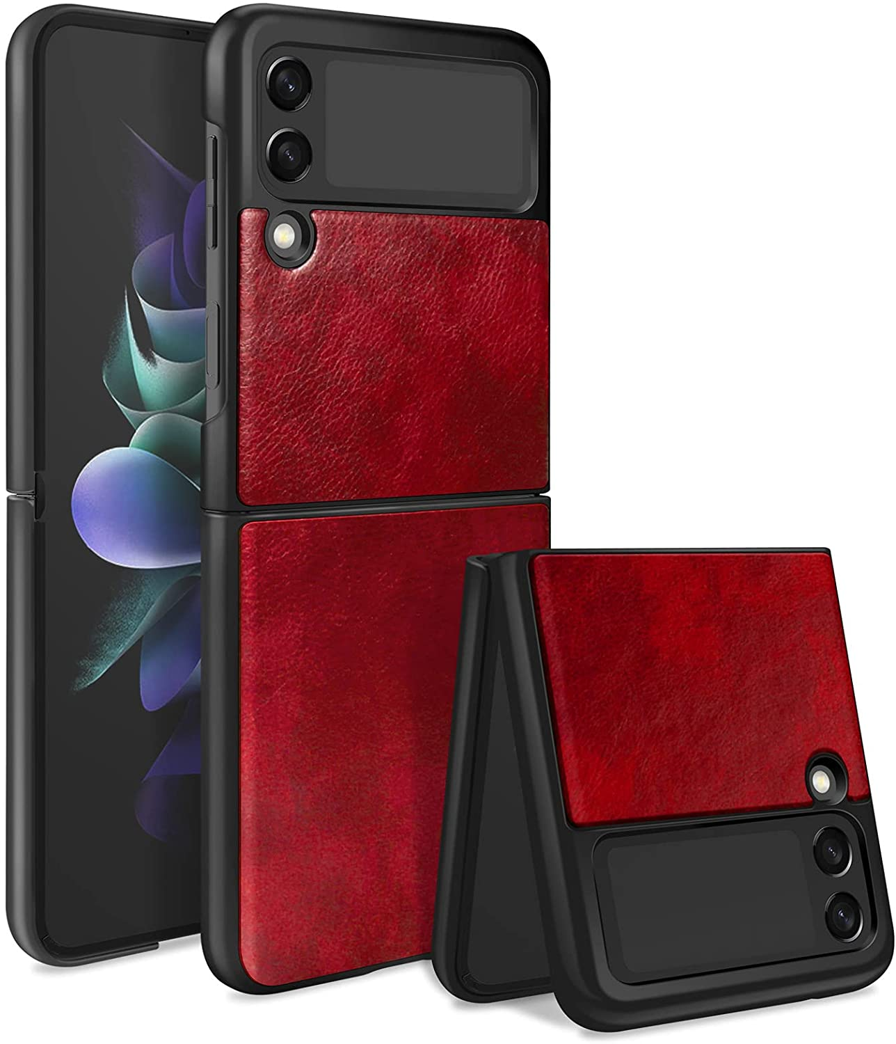 KSWOUS Case for Samsung Galaxy Z Flip 3 Case 5G Leather Hard PC Cover, Heavy Duty Shockproof Non-Slip Grip Protective Shell Stylish Cover Thin Fit Phone Case for Galaxy Z Flip 3 5G, Red