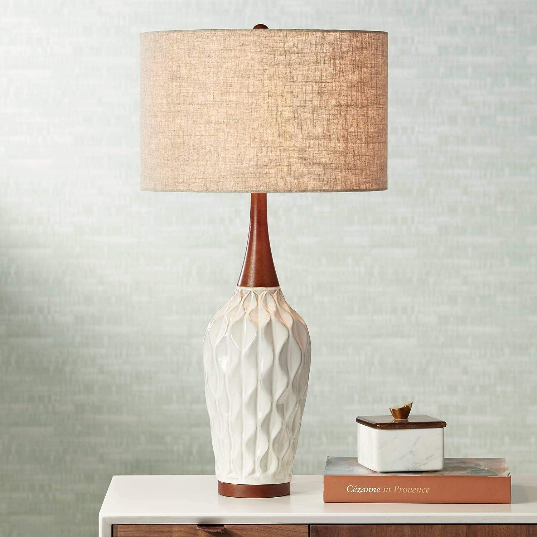 Rocco Mid Century Modern Table Lamp Wood Geometric Many popular brands Ceramic White Japan's largest assortment