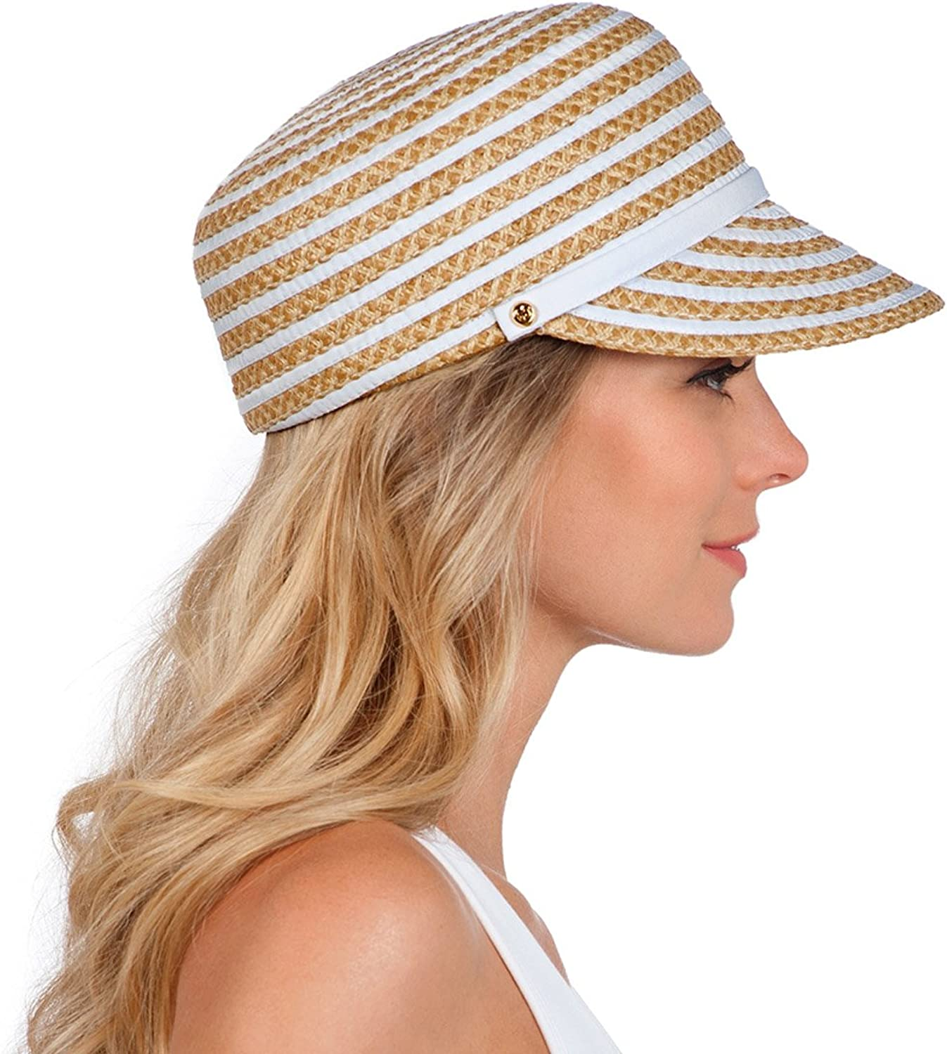 Eric Javits Luxury Fashion Designer Women's Headwear Hat  Dame Cap  White Mix