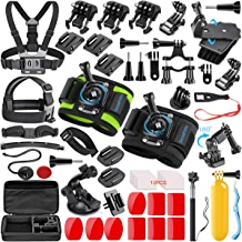 SmilePowo 51 in 1 Sport Camera Accessories Kit for GoPro Hero 7 6 5 4 3 Black, Hero 2018, Session Fusion, SJCAN AKASO APEMAN DBPOWER Lightdow Campark Action Camera with Anti-Fog Inserts,Floating Grip