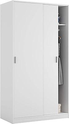 Habitdesign Armario de Dos Puertas Correderas, Acabado en Color Blanco Mate, Medidas: 100 cm (Ancho) x 200 cm (Alto) x 50 cm (Fondo)