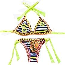 Henraly Women's Handmade Crochet Bikini Set Tie Side Cheeky Bottom Triangle Swimsuits