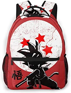 Goku Dragon Ball Red Black Daypack With Adjustable Shoulder Straps, Camping Outdoor Backpack Big Capacity School Daypack Backpack Anti-Theft Multipurpose for Boys Girls