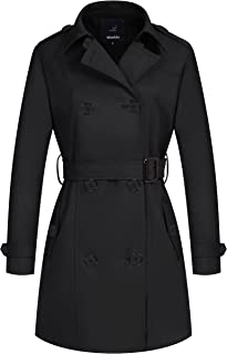 Wantdo Women's Double-Breasted Long Trench Coat with Belt
