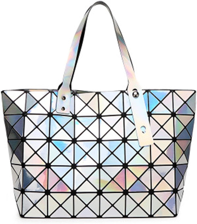 BeautyWJY Women's Purse Fashion Geometric Lattice Tote Holographic PU Leather Tophandle Handbags
