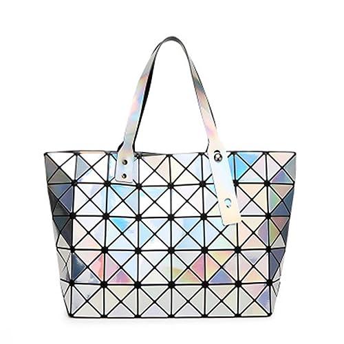 BeautyWJY Womens Purse Fashion Geometric Lattice Tote Holographic PU Leather Top-handle Handbags
