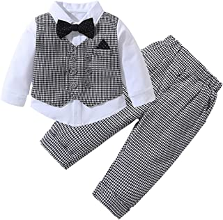 famuka Baby Boys Gentleman 2pcs Long Sleeves Formal Party Wedding Baptism Outfits Infant Suit