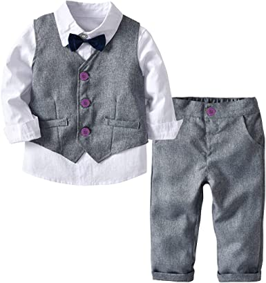 Camisa de manga larga con pajarita + chaleco + pantalones largos, 3 unidades