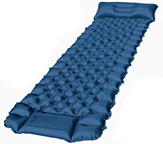 Camping Sleeping Pad, FEELLE Ultralight Backpacking Air Mattress with Pillow 3 Inch Thick Mat Hiking Sleeping Mat for Travelling & Outdoor Activities, Inflatable & Compact