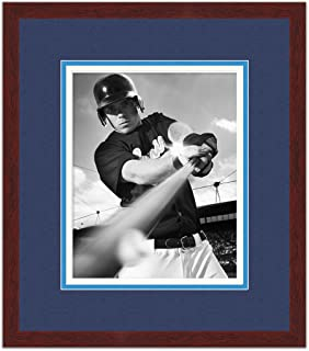 Brown Wood Frame with a Triple Mat for 8x10 Photos - Royal Blue, Navy Blue, White