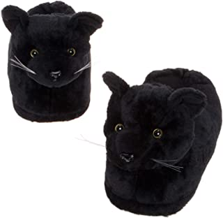 Black Cat Slippers - Plush Novelty Animal Costume House Shoes w/Comfort Foam
