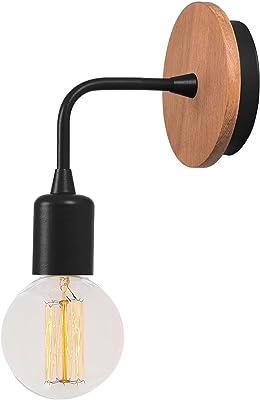 Homemania Lampe Murale Star Applique, Noir en métal, Bois, 12 x 10 x 13 cm, 1 x E27, Max 100 W