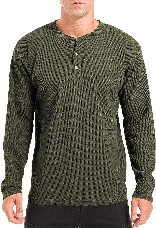 QUALFORT Men's Henley Shirt Long Sleeve Cotton Lightweight Henley T-Shirt