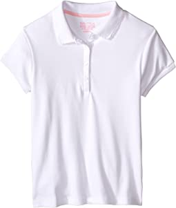 Girls Plus Short Sleeve Polo with Picot Stitch Collar (Big Kids)