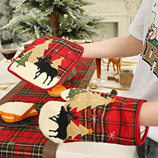 Homecube Christmas Cute Heat Resistant Oven Mitts and Pot Holders Set- Plaid Cotton Christmas Trees & Reindeer Hot Pads for Cooking and Baking Grilling Christmas Style