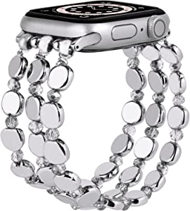 MOFREE Bracelet Compatible for Apple Watch Band Women 40mm/38mm Series SE/6/5/4/3/2/1 Fashion Handmade Elastic Stretch Strap Compatible for iPhone iPhone &iWatch Bands 40mm/38mm (40mm/38mm Silver)