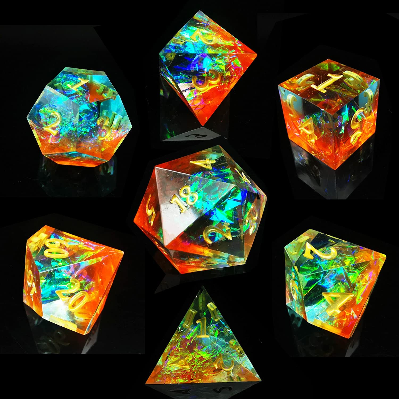 MJDICEOK DND Dice New sales Set Handcrafted Polyhedral Max 89% OFF 7-Die Designer RPG