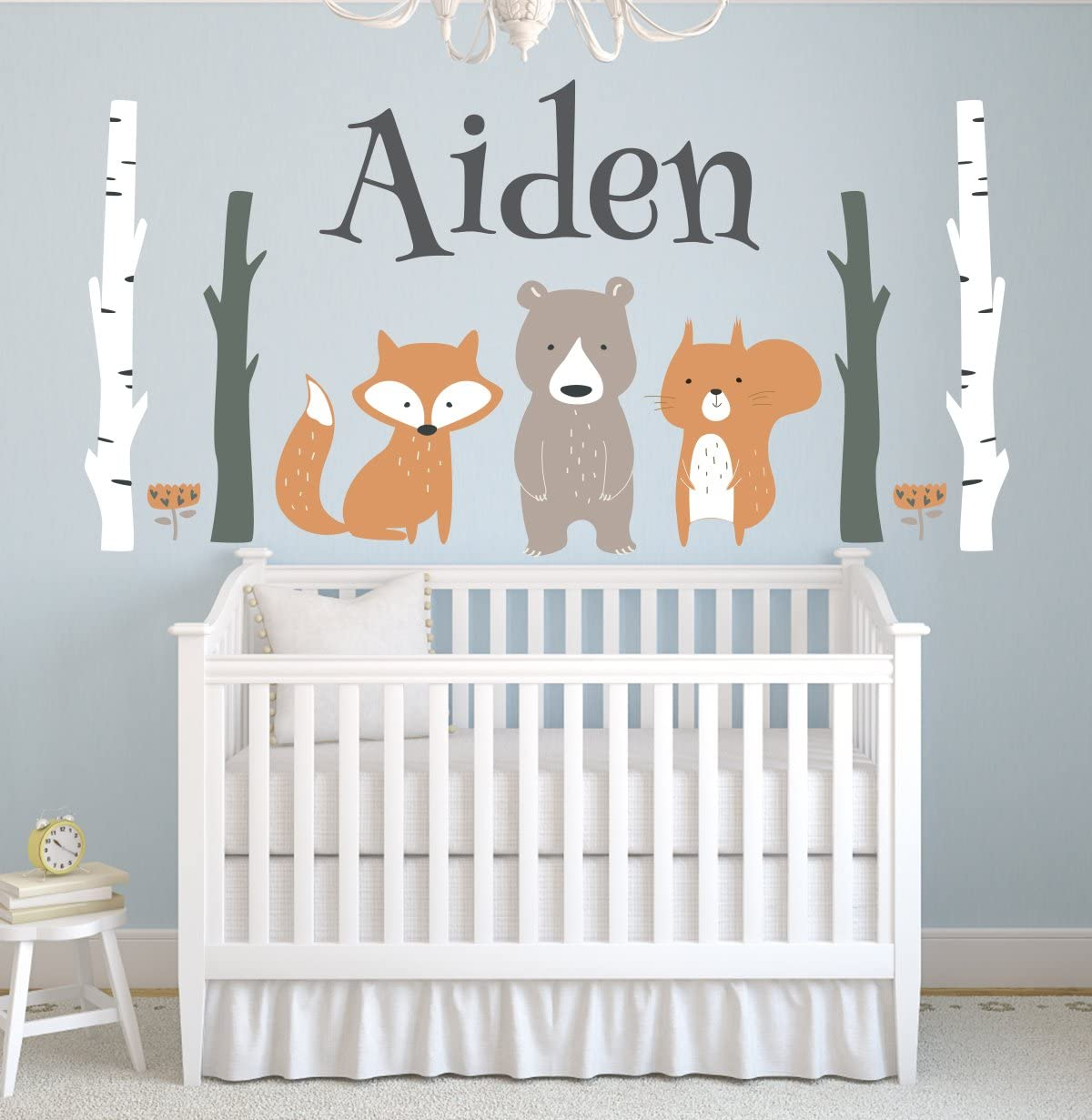 Woodland Wall Decal Nursery Forest Wall Decal Nursery Removable Wall Decal with Name Nursery Decor Personalized Kids Name Wall Decal