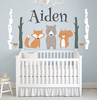 Lovely Decals World LLC Custom Woodland Animals Name Wall Decal Forest Nursery Baby Room Mural Art Decor Vinyl Sticker LD10 (42